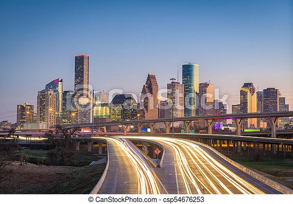 Houston, Texas, USA Skyline y la autopista - csp54676253
