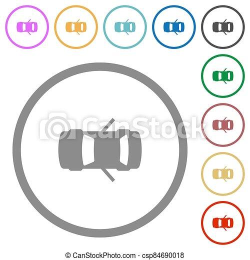 contornos, abierto, puertas, coche, trasero, iconos, tablero de instrumentos, indicador, plano - csp84690018