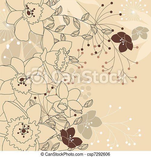 Contour background with daffodils - csp7292606