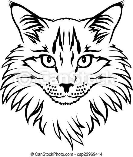 Contour cat portrait - csp23969414