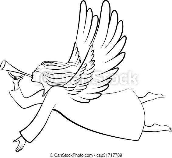 Contour Christmas angel - csp31717789