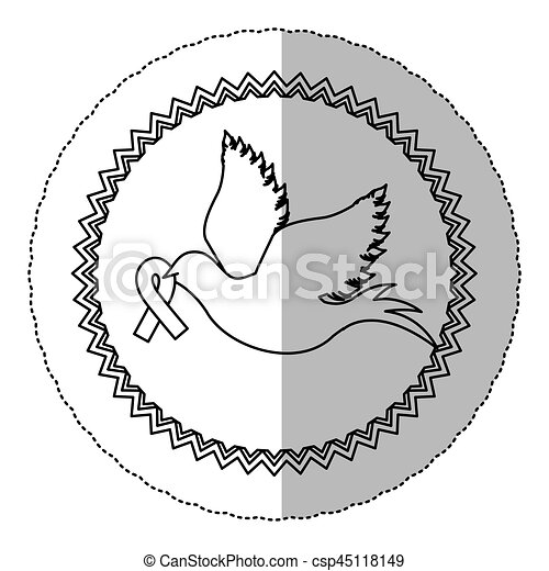 Contour Dove With Breast Cancer Ribbon In The Peak Vector Illustration
