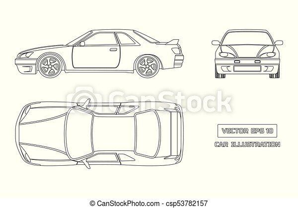 Contour Drawing Of The Car On A White Background Top Front And