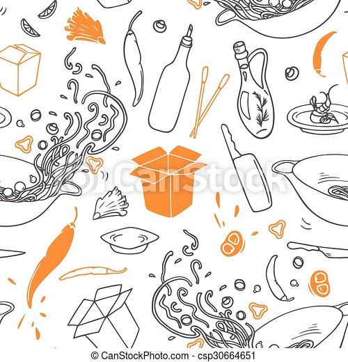 contour, elements., restaurant, modèle, seamless, main, stylisé, hipster, fond, dessiné, wok - csp30664651