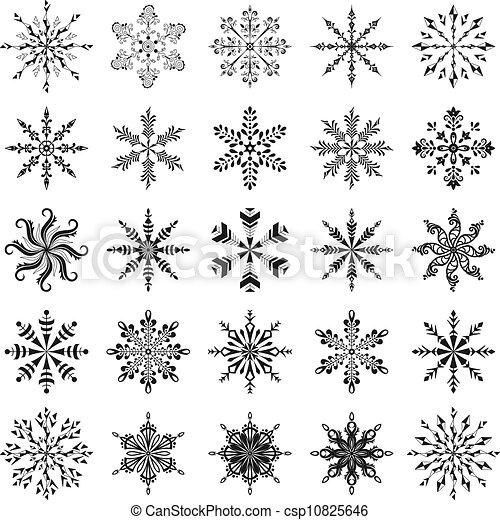Contour ensemble flocons neige ensemble flocons neige contour arri re plan vecteur noir - Dessiner un flocon de neige ...