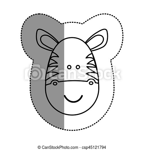Contour Face Zebra Icon Vector Illustration Design Image
