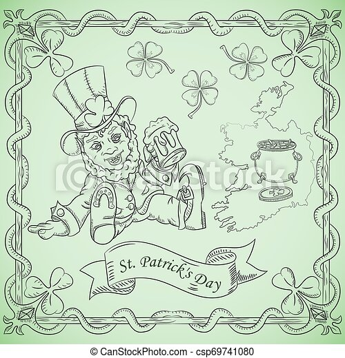 contour illustration coloring on the theme of the celebration of St. Patricks day, leprechaun dwarf sitting with a glass of beer - csp69741080