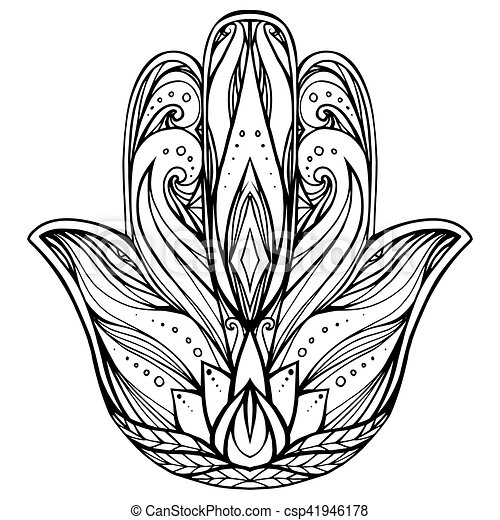 Contour Illustration Hamsa With Boho Pattern Hand Of Buddha Vector Element For Tattoos Cards
