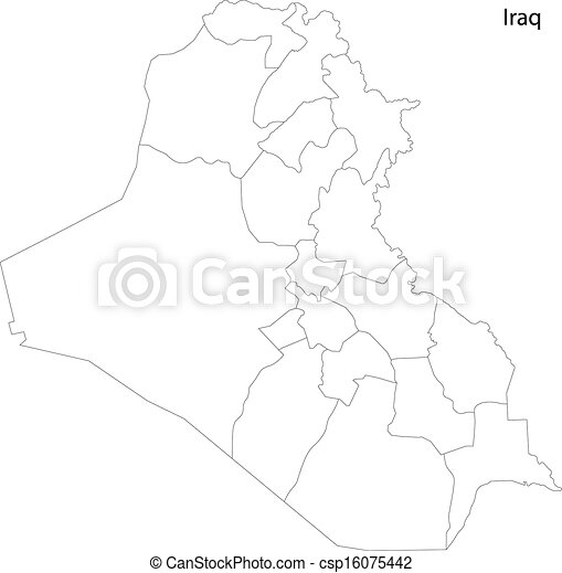 Contour iraq map Map of administrative divisions of iraq eps vector