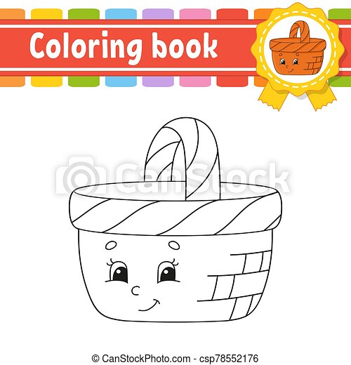 contour, livre coloration, page, noir, mignon, blanc, style., vecteur, arrière-plan., illustration., children., fantasme, isolé, silhouette., character., gai, dessin animé, kids. - csp78552176