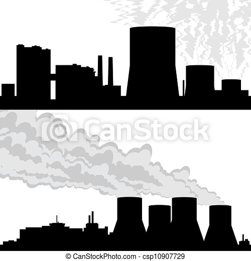 Contour of the nuclear power plant. Outline of buildings ...