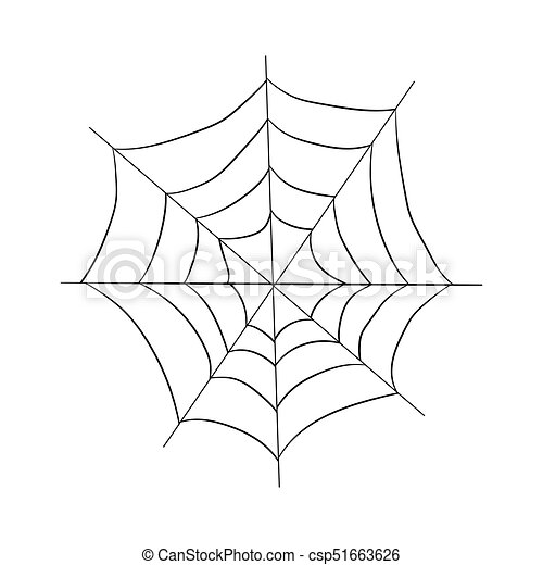 Contour Pattern Of A Web Drawing By Hand Halloween Illustration