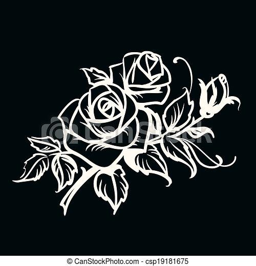 Contour roses fond noir blanc dessin illustration - Dessin fond noir ...