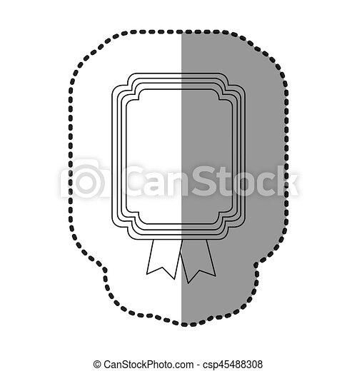 contour square emblem with ribbon icon - csp45488308