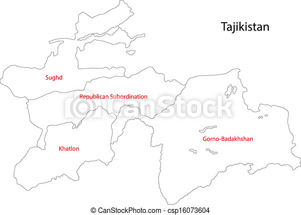 Contour Tajikistan Map Map Of Administrative Divisions Of - Tajikistan map vector