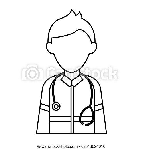 Dessin Stéthoscope contour, urgence, caractère, kit, stéthoscope, infirmier, aide