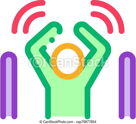 contour, vecteur, avertissement, icône, sensors, homme, signal, passé, illustration, pas - csp76877854