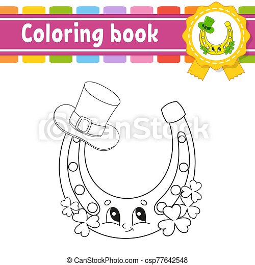 contour, vecteur, kids., silhouette., mignon, patrick's, illustration., blanc, livre, noir, rue., gai, day., dessin animé, isolé, style., character., coloration, arrière-plan. - csp77642548