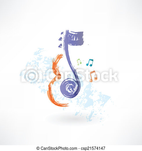 contour Violin and note grunge icon - csp21574147