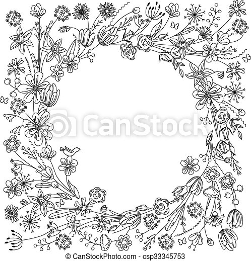Contour wreath with stylized blossoming branches  - csp33345753
