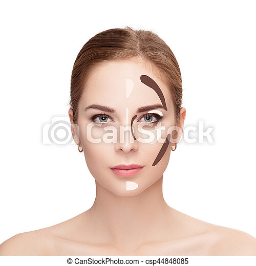 Contouring. Make up woman face on white background.  Professiona - csp44848085