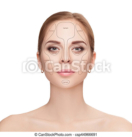 Contouring. Make up woman face on white background.  Professiona - csp44966691