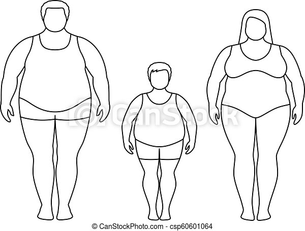 Contours Of Fat Man Woman And Child Obese Family Vector Illustration