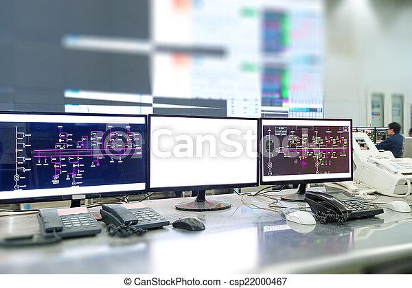 contrôle, plante, salle, moderne, moniteurs ordinateur - csp22000467