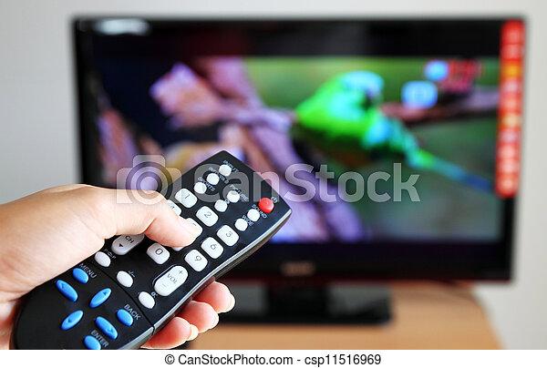 contrôle, tã©lã©viseur, vers, éloigné, pointage, tv, main - csp11516969