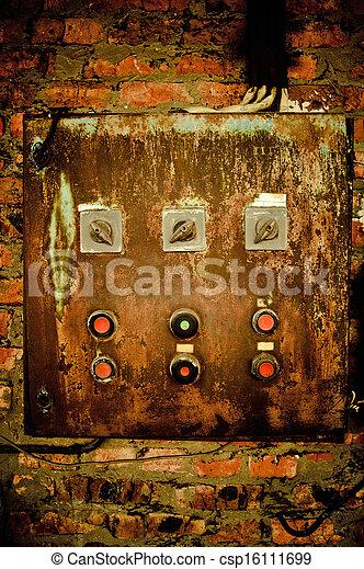 contrôle, vieux, mur, rouillé, brique, panneau - csp16111699