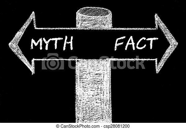 Flechas opuestas con mito contra hecho - csp28081200