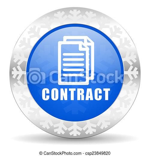 contract blue icon, christmas button - csp23849820
