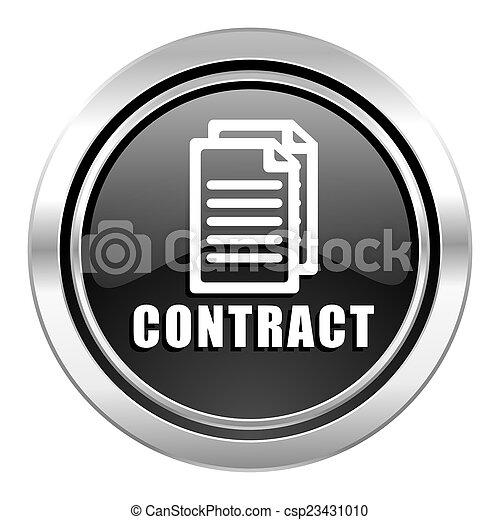 contract icon, black chrome button - csp23431010