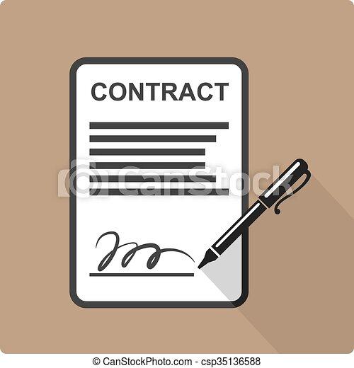 Contract Icon  - csp35136588