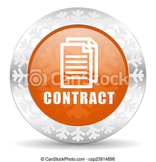 contract orange icon, christmas button - csp23914898