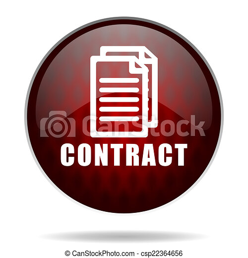 contract red glossy web icon on white background - csp22364656