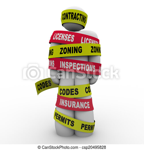 Contracting Licenses Zoning Inspection Codes Builder Wrapped Tie - csp20495828