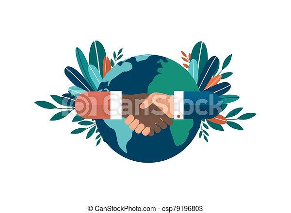 contracting., world., manos, ilustración, exitoso, nacionalidades, diferente, encima, fondo., todos, sociedad, blanco, amistad, aislado, cooperación, vector - csp79196803