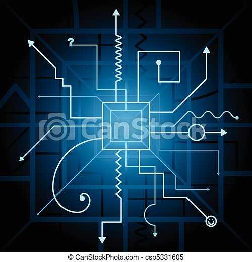 Contraption schematic. Abstract background with stylized schematic