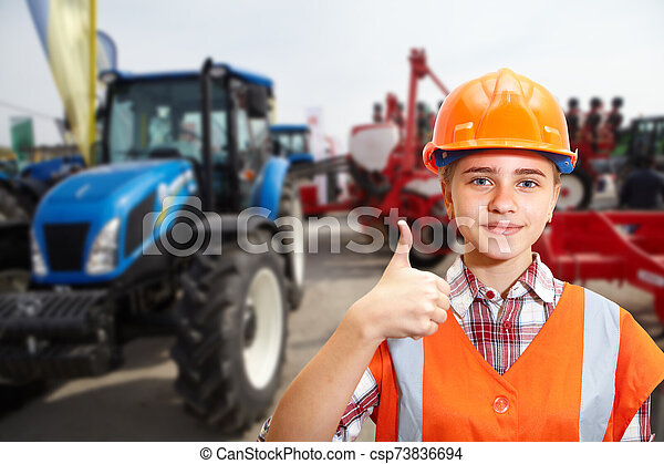 contratista, azul, tractor, agrícola, joven, exposiciones - csp73836694