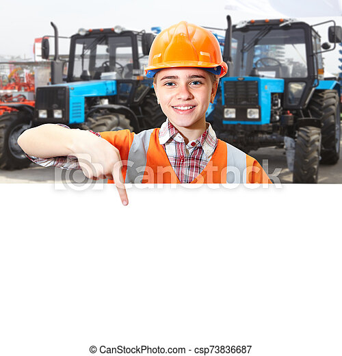 contratista, azul, tractor, agrícola, joven, exposiciones - csp73836687