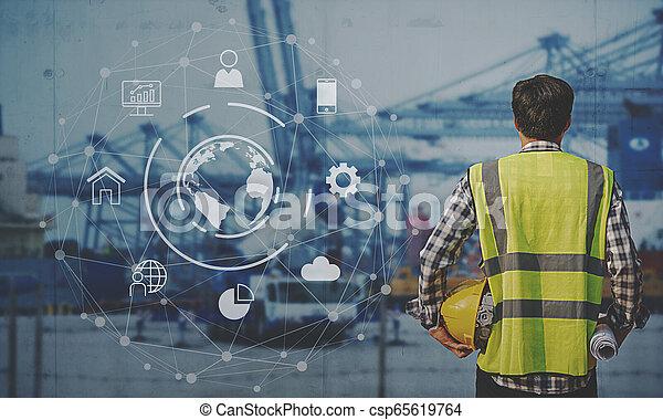 contremaître, fonctionnement, business, logistique, bateau, associé, interface, exportation, récipient, connexion globale, fret, importation, arrière-plan., cargaison, technologie - csp65619764