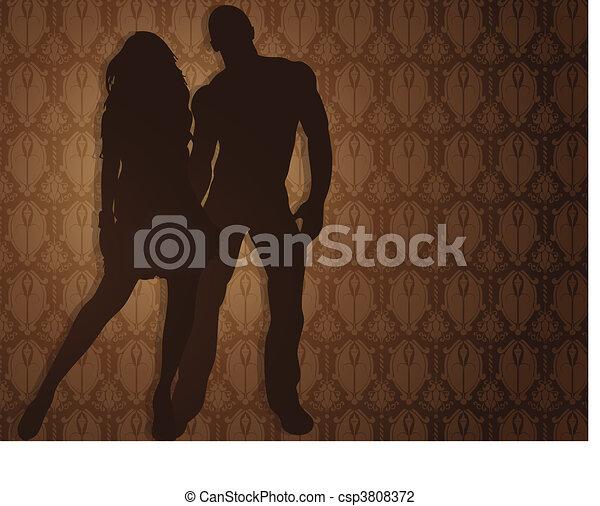 contro, fondo., coppia, damasco, sexy - csp3808372