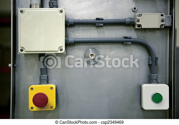 El botón del panel de control industrial - csp2349469