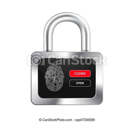 Un candado realista con una pantalla negra, huellas dactilares, abrir y cerrar botones de control. - csp47036589