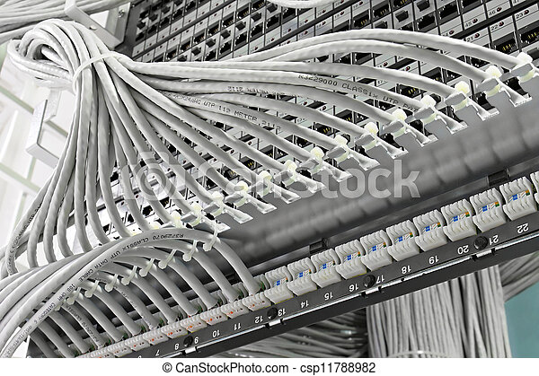 Control Cabinet With Patch Panel Of The 6th Category Stock Photo
