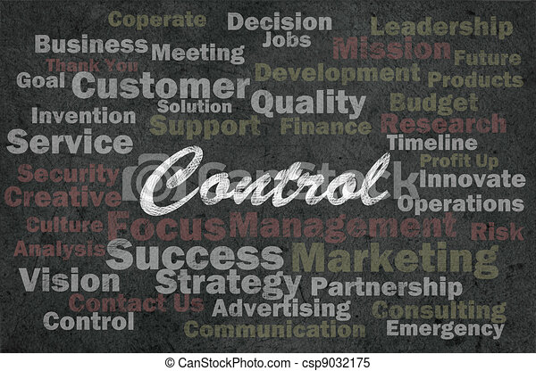 Control concept with business related words on retro background - csp9032175
