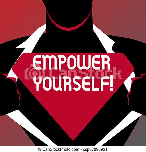 Escribir a mano conceptiva muestra poder. Una foto de negocios que muestra el control de nuestra vida estableciendo objetivos y tomando decisiones. El hombre que abre su camisa para revelar el Logo Triangular Blanco. - csp67896931