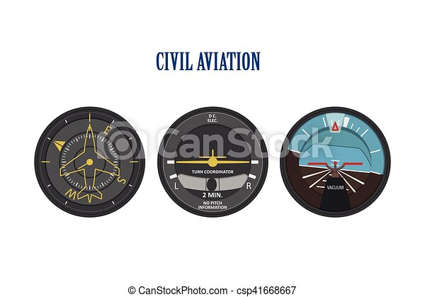 Control indicators of aircraft and helicopters. The instrument panel in a flat style on a white background - csp41668667