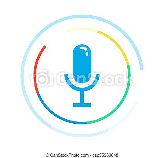 Icono vector de microfono. El concepto del logotipo de aplicación de voz. - csp35380648
